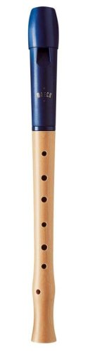 Moeck 1024 Flauto 1 Plus Sopranblockflöte Barock mit Einfachloch (OHNE Doppelloch!) Königs-Blau Kunststoff-Holz-Kombination C-Sopran-Blockflöte Schulblockflöte