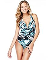 Pleated Oriental Swirl Print Swimsuit