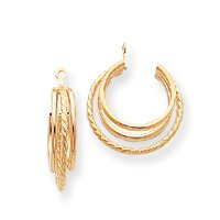 14k Polished and Twisted Triple Hoop Earrings Jackets - 3/8
