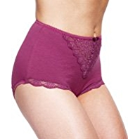2 Pack Per Una Cotton Rich Floral Lace Full Briefs