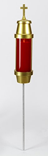 Gold Tone Metal Cemetery Light with Red Globe, 35 Inch