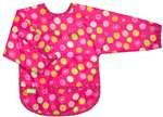 Kushies Taffeta Waterproof Bibs with Sleeves - Pink Circles - Toddler