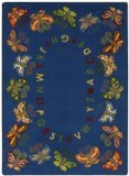 "Joy Carpets Kid Essentials Early Childhood Oval Butterfly Delight Rug, Multicolored, 5'4"" x 7'8"""