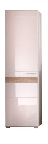 Trendteam 1280-127-41 Garderobenschrank Mezzo in weiß mit Hochglanz Tiefziehung und Absetzungen in Melinga Dark Oak Rillenstruktur, (BxHxT) 55 x 195 x 38 cm