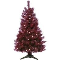 GENERAL FOAM PLASTICS 006218 Translucent Mountain King Pre-Lit Artificial Christmas Tree, 4', Purple