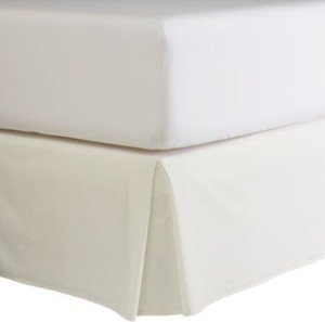 300Tc Egyptian Cotton Solid Ivory Queen Pleated Tailored Bed Skirt With 15 Inches Drop And Split Corners By Sheetsnthings front-1015280