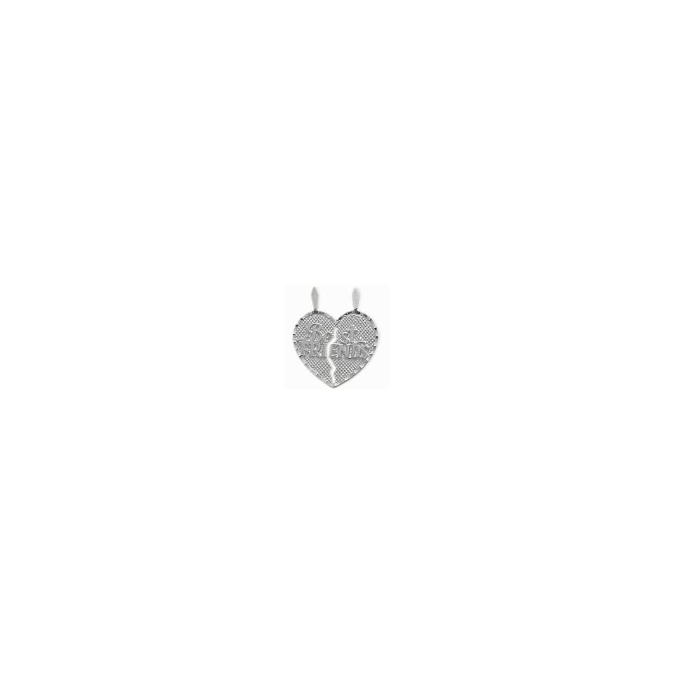 Genuine Sterling Silver BEST FRIENDS Heart Charm Pendant with 2 chains   18