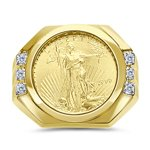 0.07 Cts Diamond Liberty Coin Mens Ring in 14K Yellow Gold