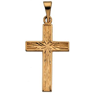 Genuine IceCarats Designer Jewelry Gift 14K Yellow Gold Cross Pendant. 18.00X12.00 Mm Cross Pendant In 14K Yellow Gold