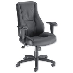 Brand New. Trexus Hampshire Manager Armchair Adjustable Arms Back H660mm W520xD510xH470-550mm Leather Black