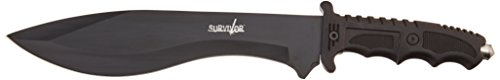 "Black Ultimate Survival Knife 15"" W/ Compass"