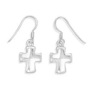 Polished Cross Earrings Dangle Sterling Silver
