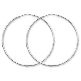 Genuine IceCarats Designer Jewelry Gift Sterling Silver D/C Hoop Earrings