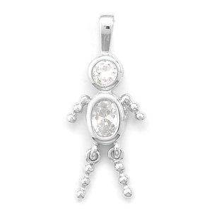 April Birthstone Boy Pendant. Rhodium Plated Clear CZ. Charm - JewelryWeb