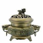 Brass Fu Temple Dog Incense Burner