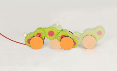 Wooden Pull Along Caterpillar Baby Toddler TOY By Pintoy - 1