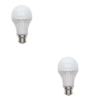 9W Virgin Plastic B22 LED Bulb (White, Pack Of 2)
