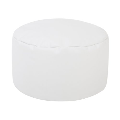Round Footstool WHITE - Bean Bag Foot Rest