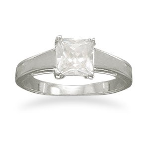 Rhodium Plated 6mm Square CZ Polished Band Ring 2.4mm Wide Band With 6mm Square Cz - Size 5