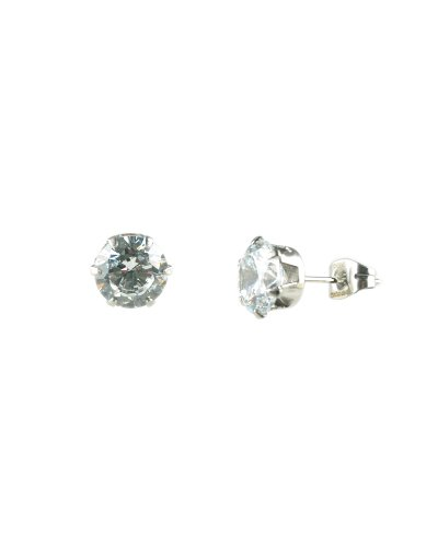 Inox Large 6-Prong Stainless Steel & CZ Post Earrings