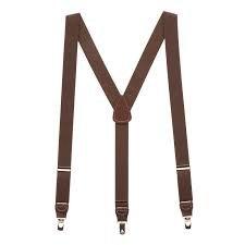 Brown suspenders for men
