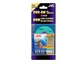 JVC DVD-RW, 1.4Gb, 8cm, 30min, Pack 5+Cleaning Disc, camcorder mini dvd, dvd rw