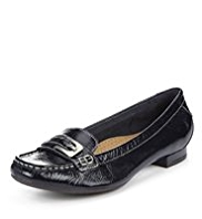 Footglove™ Leather Wide Fit Buckle Trim Moccasins