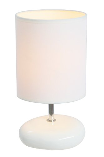 Simple Designs LT2005-WHT Stonies Small Stone Look Table Lamp, White