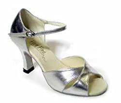 "Open Toe Cat's Eye Latin Heel 3"" (8 Colors) (5.5, Silver Leather)"
