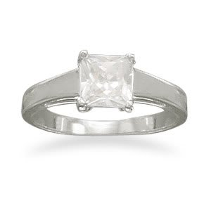 Sterling Silver Rhodium Plated 6mm Square CZ Polished Band Ring / Size 6