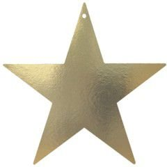 "Amscan Elegant Foil Star Five Pack Party Cutouts, 15"", Gold"
