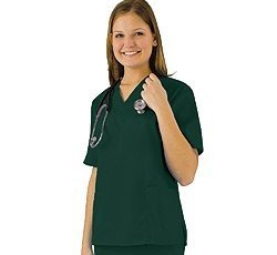 Women's Scrub Set - Medical Scrub Top and Pant, Dark Hunter Green, XX-Large