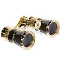 Adorama 3X25 Aida Focusing Opera Glass Binocular, Black With Gold Trim