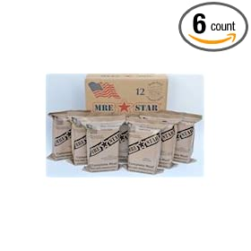 Half Case (total of 6 Individual Meals) of MRE Star Ready to Eat Complete Meals w  Flameless Heaters - Variety of Meals - Great for Bugout... by &node=16310091