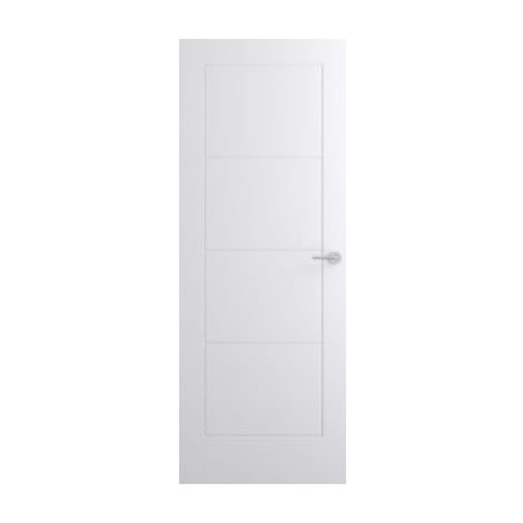 WorldStores Interior Door - Premdor Moulded Ladder 4 Panel Smooth Internal Door - White Hollow Modern Design - H 78in x W 33in x D 35mm