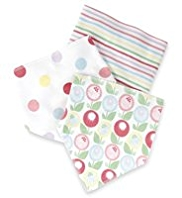 3 Pack Pure Cotton Floral & Spotted Dribble Bibs