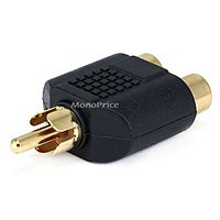 RCA Plug to 2 RCA Jack Splitter Adaptor - Gold Plated
