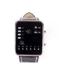 Taobaopit Cool Fashion Binary Yellow & Red LED Date Digital Man Lady Leather Watch Black