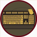 "Joy Carpets Kid Essentials Early Childhood Round Keyboard Connection Rug, Brown, 7'7"" - 1"