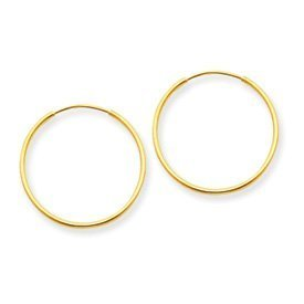 14k Gold tone Polished .00mm Lightweight Earrings Tube Endless Hoop 14mm Diameter
