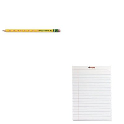 KITDIX13058UNV20630 - Value Kit - Ticonderoga Groove Pencils (DIX13058) and Universal Perforated Edge Writing Pad (UNV20630) kitswi3747308unv10200 value kit swingline selfseal clear laminating sheets swi3747308 and universal small binder clips unv10200