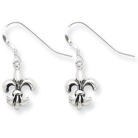 Sterling Silver Antiqued Fleur de lis Earrings