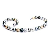 18K Diamond Clasp 13-15mm South Sea Multi Color