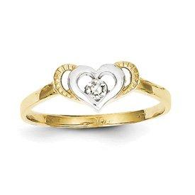 Genuine IceCarats Designer Jewelry Gift 10K & Rhodium Cz Heart Ring Size 6.00