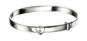 JR Jewellery D for diamond Sterling Silver Diamond Heart Expandable Baby Bangle - Christening