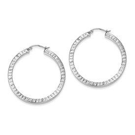 Genuine IceCarats Designer Jewelry Gift Sterling Silver Rhodium-Plated Diamond Cut Square Hoop Earrings