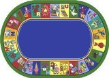 "Joy Carpets Kid Essentials Early Childhood Oval My Favorite Rhymes Rug, Multicolored, 7'8"" x 10'9"""