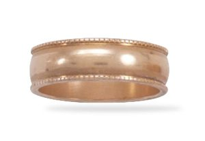 6mm Solid Copper with Milgrain Design Ring / Size 7
