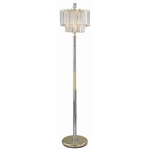 Two tiere faux crystal chandelier floor lamp 65quot tall gold for Silver tone floor lamp
