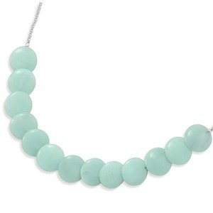 Aqua Blue Amazonite Disc Bead Necklace Sterling Silver